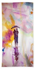 Beach Towel featuring the painting Rainbow Walk Of Love by Raymond Doward