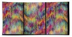 Rainbow Waterfall Triptych Beach Towel