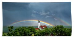 Rainbow X 2 At Portland Headlight Beach Towel