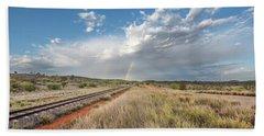 Rainbows Over Ghan Tracks Beach Towel