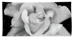 Beach Towel featuring the photograph Raindrops On Rose Black And White by Jennie Marie Schell