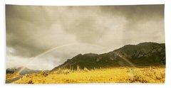 Raindrops In Rainbows Beach Towel