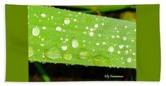 Raindrops On Leaf Beach Sheet