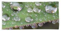 Raindrops On Leaf. Beach Towel by Kim Tran