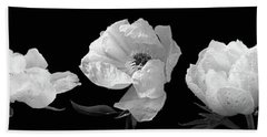 Raindrops On Peonies Black And White Panoramic Beach Sheet by Gill Billington