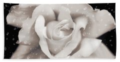 Beach Towel featuring the photograph Raindrops On Sepia Rose Flower by Jennie Marie Schell