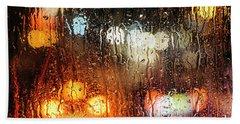 Raindrops On Street Window Beach Towel