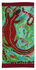 Beach Sheet featuring the painting Rainforest Skink by Cliff Madsen