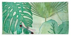 Rainforest Tropical - Philodendron Elephant Ear And Palm Leaves W Botanical Dragonfly 2 Beach Towel
