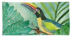 Rainforest Tropical - Jungle Toucan W Philodendron Elephant Ear And Palm Leaves 2 Beach Towel
