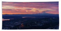 Rainier And Seattle Sunrise Cloudscape Beach Towel by Mike Reid