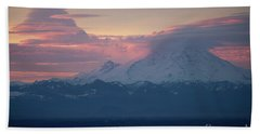 Rainier Lenticular Clouds Sunrise Beach Towel by Mike Reid