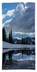 Rainier Reflection Dramatic Skies Beach Towel by Mike Reid