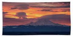 Rainier Sunrise Lenticular Cloudscape Beach Sheet by Mike Reid