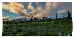 Rainier Wildflowers Meadows Golden Sunset Clouds Beach Towel by Mike Reid