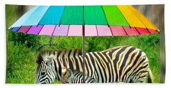 Raining Zebras Beach Towel