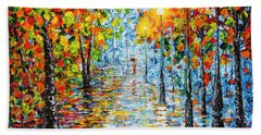Beach Towel featuring the painting Rainy Autumn Evening In The Park Acrylic Palette Knife Painting by Georgeta Blanaru