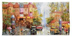 Beach Towel featuring the painting Rainy Day 3 by Dmitry Spiros