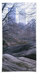 Rainy Day In Central Park Beach Towel by Sandy Moulder