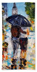 Rainy Day In Olde London Town Beach Towel