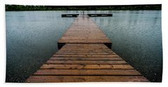 Beach Towel featuring the photograph Rainy Dock by Darcy Michaelchuk