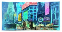 Rainy Night In New York Beach Towel by Michael Cleere