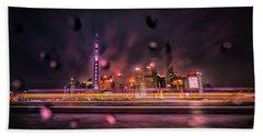 Rainy Night In Shanghai Beach Towel