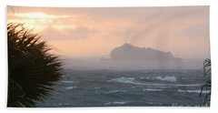 Rainy Xmas Sunrise Beach Towel