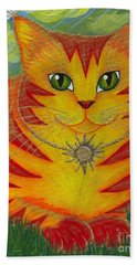 Rajah Golden Sun Cat Beach Towel