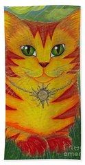 Beach Towel featuring the painting Rajah Golden Sun Cat by Carrie Hawks