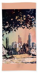 Beach Towel featuring the painting Raleigh Skyline V by Ryan Fox