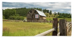 Ranch Fence And Barn With Hex Sign Beach Towel
