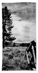 Beach Towel featuring the painting Ranch Fences by Jennifer Lake