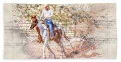 Ranch Rider Digital Art-b1 Beach Sheet