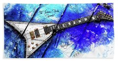 Randy's Guitar On Blue II Beach Towel by Gary Bodnar