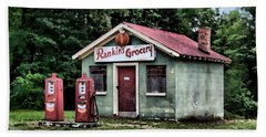 Rankins Grocery In Watercolor Beach Towel by Lynne Jenkins