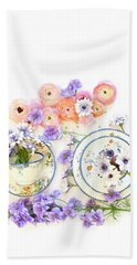 Ranunculus And Daisies With Vintage Tea Cups Beach Sheet