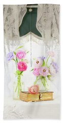 Ranunculus In Window Beach Towel