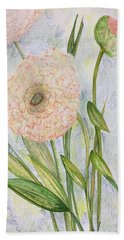 Beach Towel featuring the drawing Ranunculus by Norma Duch
