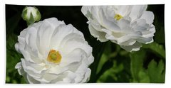 Ranunculus White Flowers Beach Towel