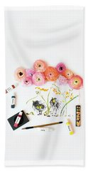 Ranunculus With First Watercolor Beach Towel