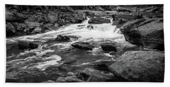 Rapids Through The Forest Bw Beach Towel