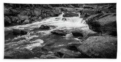 Rapids Through The Forest Bw Beach Sheet