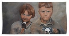 Beach Towel featuring the painting Rare Treat - Willie And Murrell-the Depression Era by Jan Dappen