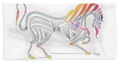 Rarin' To Go -- Stylized Medieval Prancing Horse W/ Rainbow Mane Beach Towel