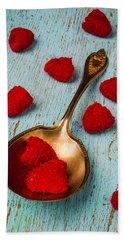 Raspberries With Antique Spoon Beach Towel by Garry Gay