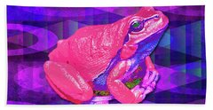 Beach Towel featuring the digital art Raspberry Frog by Mimulux patricia No