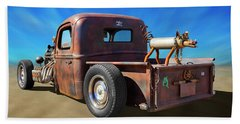 Beach Towel featuring the photograph Rat Truck On Beach 2 by Mike McGlothlen