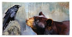 Raven And The Bear Beach Sheet by J W Baker