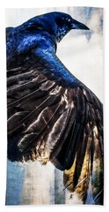 Beach Towel featuring the photograph Raven Attitude by Carolyn Marshall